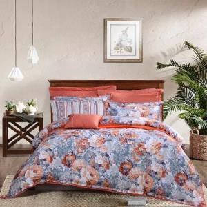 富安娜家纺 床上用品四件套皮马棉80S贡缎纯棉全棉床单被套 高档单双人 国色芳华1米8/1米5床橙色869元