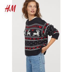 H&M女装毛针织衫女 2018冬季新款宽松图案针织套衫HM0711344199元