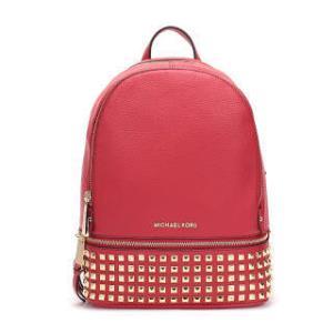 MICHAEL KORS 迈克・科尔斯 MK女包 RHEA ZIP系列亮红色牛皮铆钉装饰中号女士双肩包 30S5GEZB5L BRIGHT RED 2250元