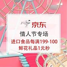 京东商城甜蜜放价 有爱有礼 情人节专场 鲜花礼品1元秒,进口食品每满199减100