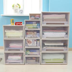 百露叠加收纳柜抽屉式透明内衣收纳箱衣物整理柜子箱宝宝衣柜储物 加厚中号单个 *3件62.79元(合20.93元/件)