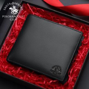 圣大保罗POLO男士钱包多卡位横款钱夹男头层牛皮商务皮夹短款卡包 D70080125黑色 *2件139.39元(合69.7元/件)