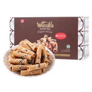 印度尼西亚进口 哇酥咔(WASUKA)椰子汁威化卷(饼干) 零食蛋卷心酥 120g9.9元