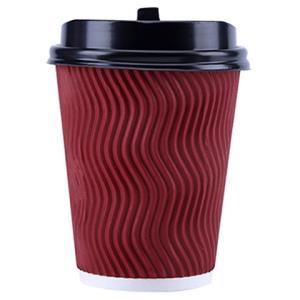 利得一次性加厚咖啡杯12盎司340ml 双层瓦楞纸杯奶茶杯16套 带盖9.95元
