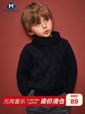 迷你巴拉巴拉男童白色高领毛衣粗棒针复古毛衫新款保暖套头针织衫89元