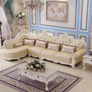 灵柔欧式沙发组合 客厅皮艺家具小户型实木整装真皮沙发头层牛皮1200元包邮(需用券)