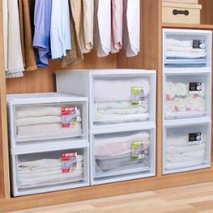 日本爱丽思收纳箱抽屉式衣柜内收纳盒透明塑料整理箱衣服收纳柜爱丽丝储物箱 BC500D透明/白76.67元