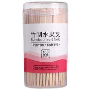 唐宗筷 水果叉 蛋糕甜品叉 点心叉 竹制加厚型叉子 100支装 C65384.94元
