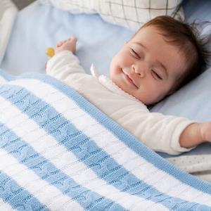 AUSTTBABY 婴儿盖毯 羊羔绒针织毛毯儿童午睡毯婴儿抱毯 心蓝色119元