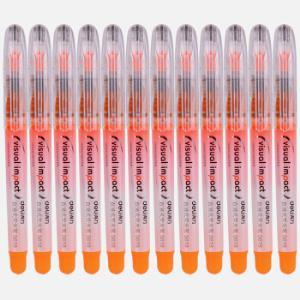 得力(deli)橙色直液式重点标记荧光笔 手帐可用水性记号笔12支/盒 *5件45元(合9元/件)