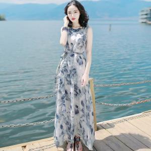 裙子夏女2018新款冷淡风雪纺显瘦连衣裙高腰长裙海边度假沙滩裙仙 ¥144