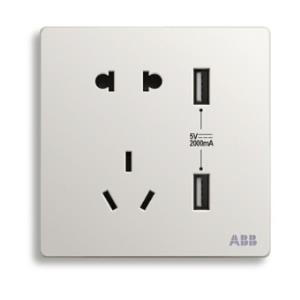 ABB 轩致系列 AF293 双USB五孔插座 雅典白  69.4元包邮