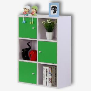 彭友家私 置物架 简约书柜储物柜收纳柜 六格白色三门绿色柜门 PY-LG0349.5元
