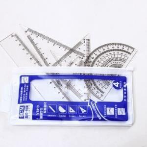 至尚・创美 v1919 三角尺*2量角直尺器绘画工具4件套 蓝色袋装 *5件9.5元(合1.9元/件)