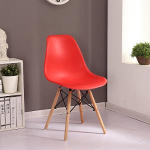 世纪华伟电脑椅家用阳台休闲椅办公椅员工椅宿舍写字台椅子靠背椅伊姆斯椅实木洽谈塑料椅书桌椅 红色 一把87.7元