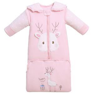 童颜 婴儿睡袋 新生儿宝宝抱被儿童防踢被秋冬厚夹棉可脱袖信封式加长包成长睡袋 130粉色(适合1-4岁)99元