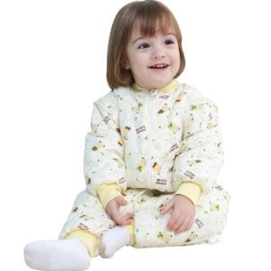 童颜 婴儿睡袋秋冬款全棉新生儿宝宝抱被儿童分腿睡衣防踢被可脱卸 黄色小熊 M72.5元