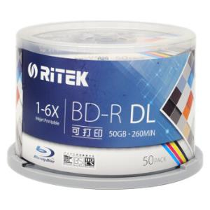 铼德(RITEK) BD-R空白蓝光光盘/刻录盘 DL 1-6速 台产50G蓝光可打印 桶装50片349元
