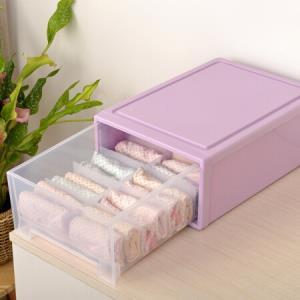 百草园塑料内衣收纳盒 抽屉式收纳柜储物柜 衣柜收纳盒 10格 紫 *5件195元(合39元/件)