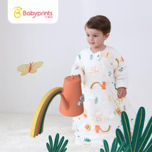 Babyprints3M新雪丽婴儿睡袋 宝宝一体式夹棉睡袋秋冬抱被防踢被 80 缤纷花园179元