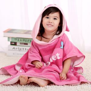 迪士尼(Disney)毛巾家纺 儿童连帽浴巾A类纯棉 小猪皮杰 60X120CM *5件225元(合45元/件)
