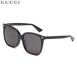 GUCCI 古驰 eyewear 太阳镜女 全框板材眼镜架 亚洲版女士墨镜 GG0022SA-001 黑色镜框灰色镜片 57mm