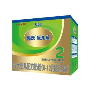 惠氏(Wyeth) S-26 金装健儿乐 奶粉 2段 2段 6-12个月 1200g *2件 406元(合203元/件)