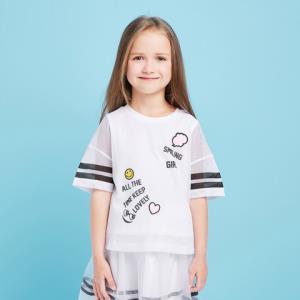 balabala 巴拉巴拉 童装女童打底衫半袖夏 漂白 6-14岁25元