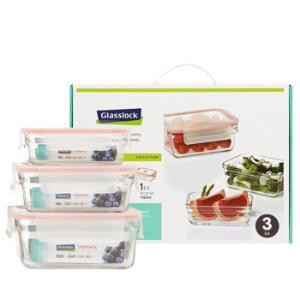 Glasslock 三光云彩 GL1282 钢化玻璃保鲜盒 三件套 *3件 182元包邮(合60.67元/件)