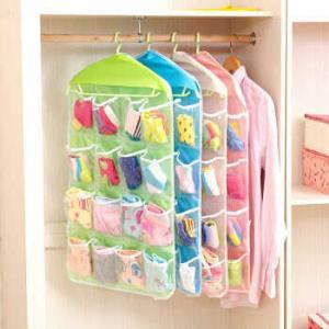 透明16格衣物袜子内衣收纳挂袋衣柜小物收纳墙壁门后兜分类整理袋 颜色随机发9.9元包邮(需用券)