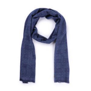CANALI 康纳利 男士蓝灰色羊毛格纹印花长形围巾 06 MF00116 300 *3件 3128元(合1042.67元/件)