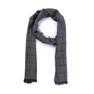CANALI 康纳利 男士麻灰色羊毛格纹长形围巾 06 MF00113 111 *3件2268元(合756元/件)