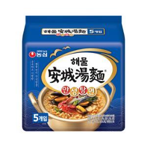 农心 韩国进口 海鲜味安城汤面 112g*5 袋面 拉面方便面速食食品 五连包19.9元