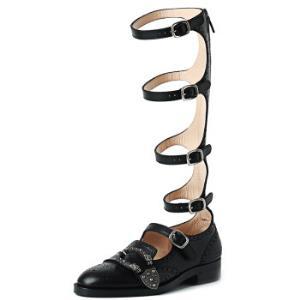 GUCCI 古驰 GUCCI女鞋 452899 A3N00 1000 37 女士黑色牛皮双虎扣头绑带高绑皮鞋7400元