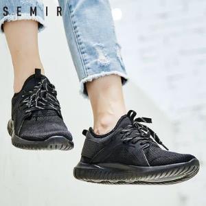 Semir运动鞋男2018春季新款休闲鞋透气网面慢跑鞋耐磨学生鞋子80.7元