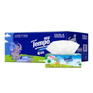 得宝(Tempo)抽纸儿童版18包4层90抽面巾纸纸巾天然无香(整箱销售)*3件 136元(合45.33元/件)