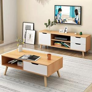 DCLife实木茶几脚电视柜茶几组合沙发边柜小户型(B款电视柜茶几组合北欧枫木色)379元