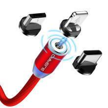 卡斐乐 磁吸苹果/Type-c/安卓数据线三合一快充手机一拖三充电器线iPhone小米华为三星电源线 红色36.9元
