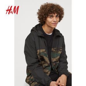 H&M DIVIDED男装2019春季新款 黑色迷彩防风夹克潮牌 HM0712295 199元