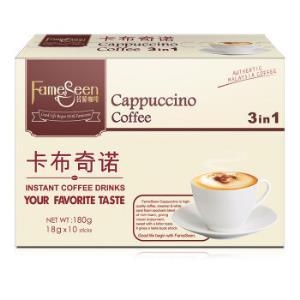 马来西亚进口名馨(fameseen)花式咖啡卡布奇诺速溶咖啡180g(18克×10条)*8件 74.2元(合9.28元/件)