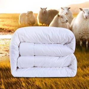 富安娜家纺进口羊毛被子冬天被芯羊毛保暖混合被双人被芯白色1.8m(230*229cm) 199元
