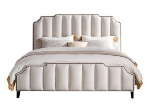 芝华仕顿图 美式床布艺床简约休闲1.8米/1.5米双人床  MC006Y 米色 简约款 1.8*2.0  30-60天发货 2999元