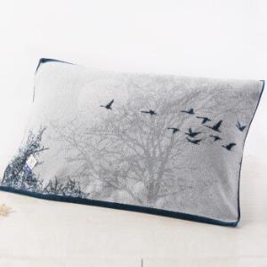 金号毛巾家纺A类纯棉加大加厚枕巾单条装优雅水墨画蓝色200g52*80cm*3件 95.76元(合31.92元/件)