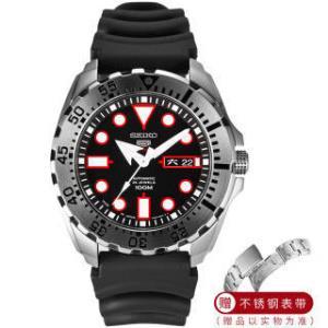精工(SEIKO)手表 日本原装进口SEIKO5号运动系列红牙水鬼夜光黑盘胶带4R机芯机械男表SRP601J1赠钢带套装 1375元