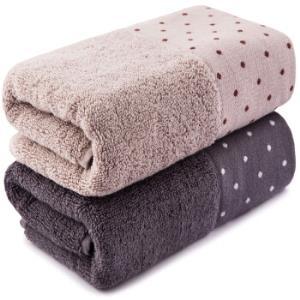 三利 纯棉缎边波点毛巾2条装 34×72cm 柔软吸水洗脸面巾 100g/条 考拉色+犀牛色 *7件102.3元(合14.61元/件)