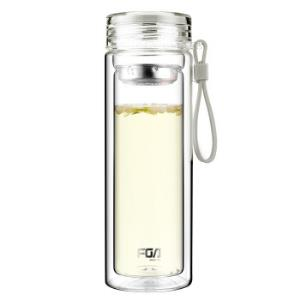 富光 格雅系列玻璃杯 带茶隔 双层杯 320ml 米白色(WFB1012-320) *9件170.5元(合18.94元/件)