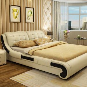 中派床卧室双人真皮床1.8*2.0标准床+床垫+床头柜1个 1445元