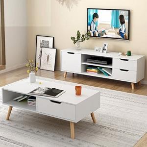 DCLife简约北欧电视柜茶几组合暖白色369元