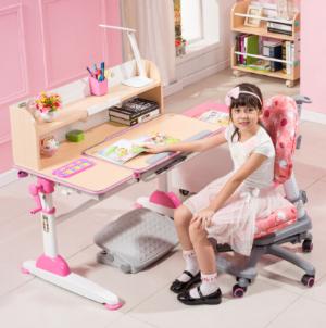 生活诚品儿童书桌儿童学习桌椅套装可升降书桌学生写字桌ME352粉色    1899元