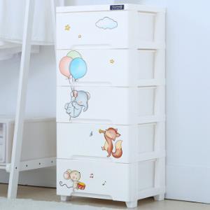 也雅抽屉式塑料储物柜儿童卡通收纳柜整理柜宝宝收纳箱儿童衣柜五层119元